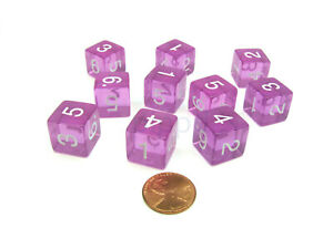 Pack of 10 Transparent 6-Sided D6 16mm Numbered Dice - Orchid