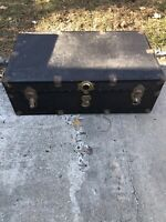 Flat Top Steamer Trunk - Antique Vintage Flat Top Trunk Treasure Chest