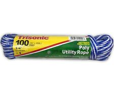 Poly Utility Rope 100 Ft 1/4 Inch Diameter Fishing Camping Boating Home Trisonic