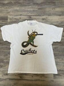 Vintage Lubbock Crickets XL Minor League Baseball White Single Stitch