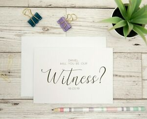 Witness Proposal Card - Personalised Will You Be My Witness Wedding Card