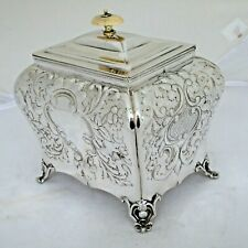 More details for stunning antique repousse silver plate bombe shape biscuit or tea caddy box