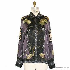 AUTHENTIC HERMES Parures Equestre Silk Scarf Printed Long Sleeve Blouse, Sz 44