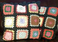 A Pair of Throw Pillows Crochet Granny Squares Wool Hand Made Accent Pillow -