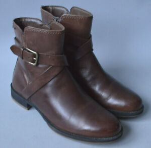 Ladies Ecco Goretex Brown Leather Ankle Boots Size UK 6
