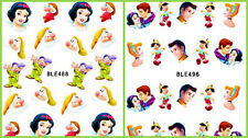 DISNEY BIANCANEVE Principe PINOCCHIO Nail Art Sticker Decal Decorazione Manicure