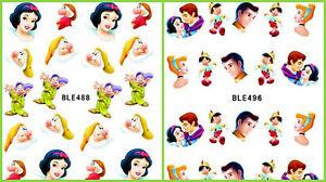 Disney Snow white Prince Pinocchio Nail Art Sticker Decal Decoration Manicure