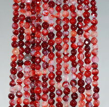 """4MM  AGATE GEMSTONE CHERRY BLOSSOM MULTI FACETED ROUND LOOSE BEADS 15"""""""