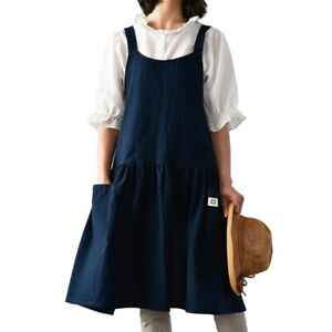 5 Colors Kitchen Apron Cooking Bib Durable Artists Painting Bib Japanese Style