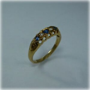 Repro Victorian style 9ct Gold Sapphire & Diamond Five Stone Ring