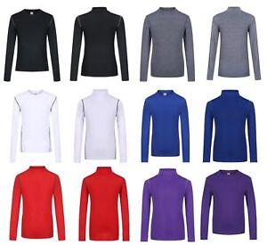 Boys Kids Compression Baselayer Thermal Sport Shirt Top Long Sleeve Skins UK