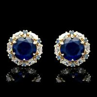 2.00CT Blue Sapphire Halo Marquise Created Diamond Stud Earrings 14k Yellow Gold