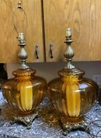 """Vintage Amber Glass Lamps Underwriters' Laboratories Brass 28"""" tall Pair Used"""
