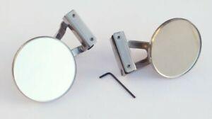Pair of Austin / BMC Classic Mini Stainless Steel Clamp-On Overtaking Mirrors