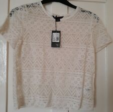 NEW Armani Exchange White Cropped Lace T-Shirt size Small/P, UK 6-8