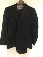WILLIAM HUNT 2-Piece Single Breasted Mens Grey & Blue Check Suit UK40L