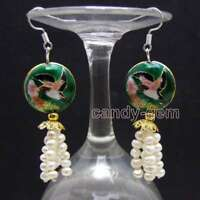 SALE 4-5mm Round White Natural Pearl & Dark Green Cloisonne Dangle earring-ea647