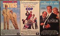 Arnold Schwarzenegger Comedy VHS Lot Of 3 (Twins, Kindergarten Cop, Junior)