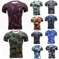 Men Compression Camo Base Layer Top Tee Short Sleeve Gym Sports Fitness T-Shirt