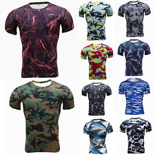 Mens Camo Compression Base Layer T-shirt Fitness Short Sleeve Running Sport Tops