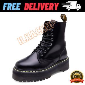 Doc Martens Women Leather Heeled Jadon Black Platfom Boots 8 Eyes New