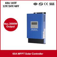 Mppt 60A Télécommande de Charge 60Amp 12V24V48v Solaire Panneau Régulateur