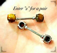 Nipple Bar Barbell Ring Jewelry Piercing SEXY Silver Genuine Tigers Eye 14g