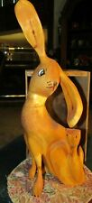 1992 PETE ORTEGA SANTA FE, NEW MEXICO FOLK ART WOOD CARVED RABBIT-SIGNED