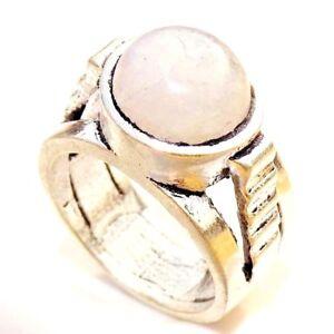 Rainbow Moonstone 925 Silver Plated Handmade Ring Size 5.75 US Free NAT34