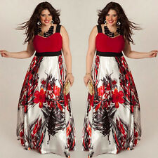 Plus Size Women Floral Printed Long Evening Party Prom Gown Formal Dress 2XL