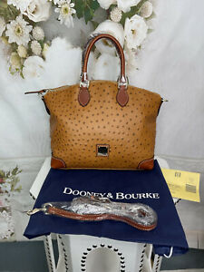 Dooney Bourke Ostrich Embossed Genuine Leather Bag Tan GORGEOUS NWTS $278 Sale!