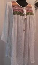 Fashion fuse casual Boho - Chic Ivory with embroidered Tunic/Top  Medium