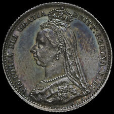 More details for 1887 queen victoriajubilee head silver wreath sixpence, g/ef