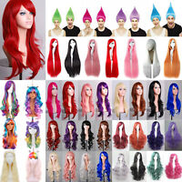 Womens Long Hair Full Wig Curly Wavy Straight Synthetic Hair Wigs Anime Cosplay
