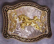 Pewter Belt Buckle Animal Horse Running NEW 2 tone