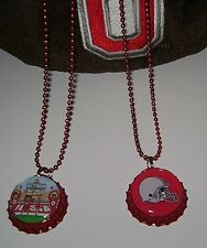 Ohio State Buckeye Bottle Cap Necklace!2 Styles!Choice of 1!OH-Io or Fb Helmet!
