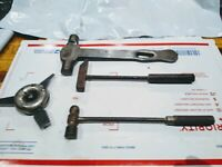 """3 Vintage All Metal Small Hammers 1 - 7 1/2"""", 2- 8"""", & 3 Headed Flat Screwdriver"""