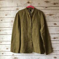 Eileen Fisher Womens Medium Army Green Heathered Long Sleeve Button Down Shirt