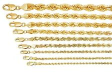 """Solid 10k Yellow Gold 1mm-10mm Diamond Cut Rope Chain Pendant Necklace 16""""-30"""""""