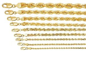 "Solid 10k Yellow Gold 1mm-10mm Diamond Cut Rope Chain Pendant Necklace 16""-30"""