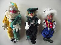 Ceramic Face Clown Dolls Set of 3
