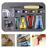 Fabric Bias Tape Maker Tool Set Kit Sewing Quilting Binding Presser Foot Awl Pin