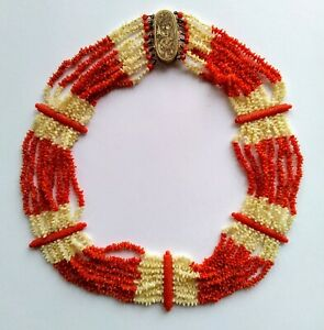 Victorian Red & White Coral Necklace - c.1870
