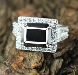 5.68 Ct Black Diamond Solitaire Halo Women's Bridal Ring Classic Collection