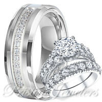 His Tungsten Band Hers 925 Sterling Silver Engagement Wedding Men Women Ring Set