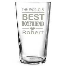 PERSONALISED ENGRAVED PINT GLASS, World's Best Boyfriend, Husband, Birthday