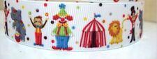 1M Fantastic Circus Clown & Animal Grossgrain 22mm Ribbon - Scrapbooking & Cakes