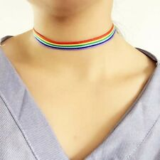 Rainbow Choker Necklace LGBT Chain Ribbon Simple Necklace Gay Lesbian Pride uk