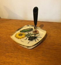 Vintage Retro 1950s 1960s Resin Pen Holder with Flowers & Bugs Old Malaysia