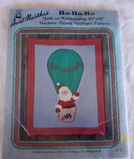 "AUNT MARTHA'S HO-HO-HO SANTA/BALLOON QUILT/WALLHANGING 40""X50"" APPLIQUE PATTERN"